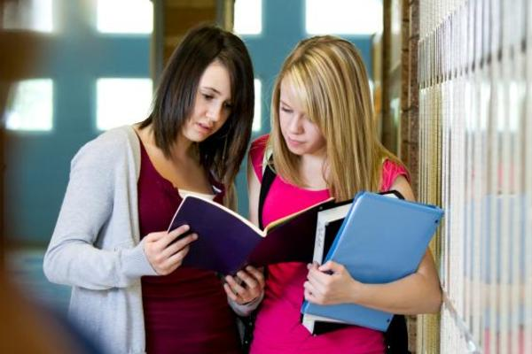 Female students conversing